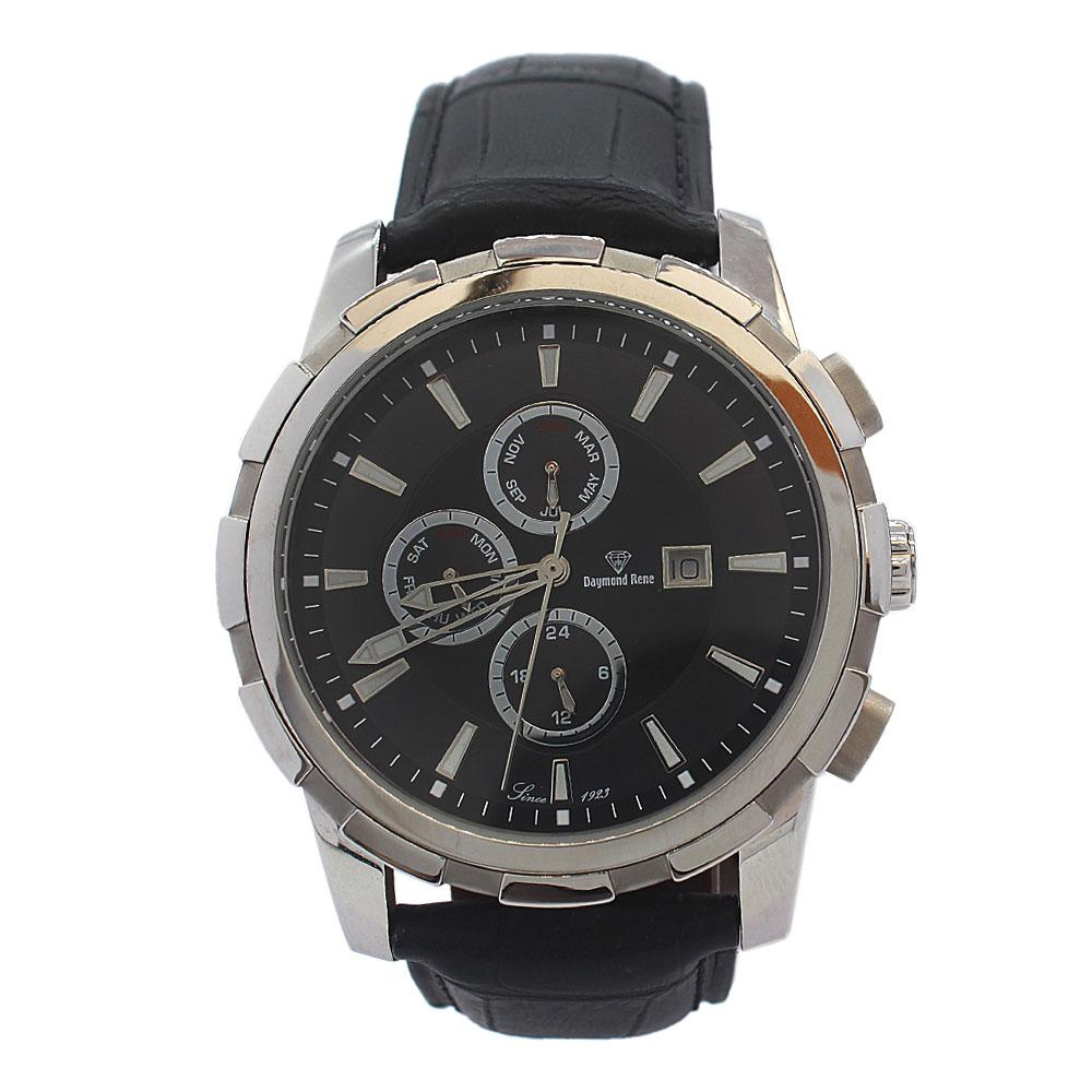 DR 10ATM Silver Black Leather Chronograph Watch