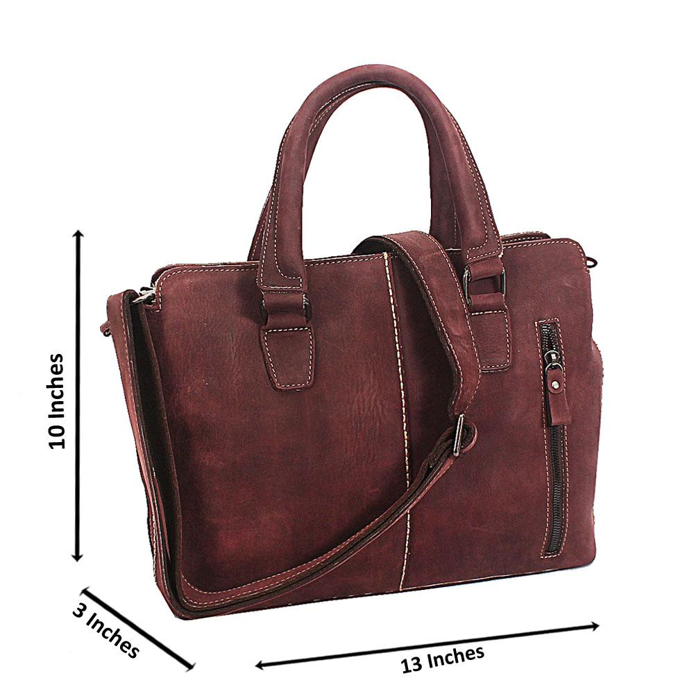 Coffee Brown To Grain Leather Tote Man Bag