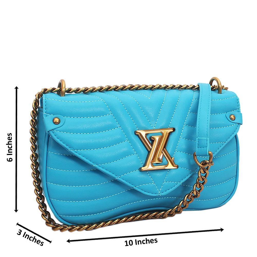 Blue  New Wave MM Chain Tuscany Leather Crossbody Handbag