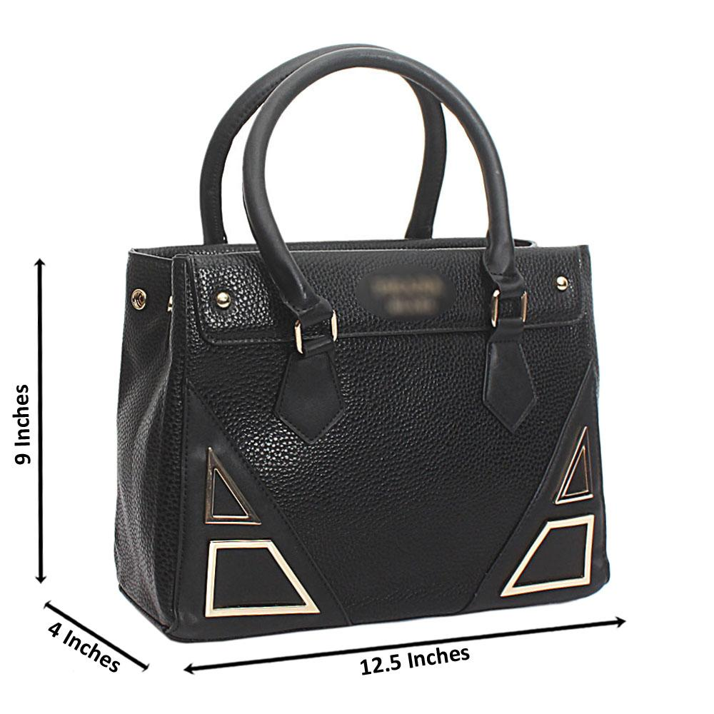 Black Leather Medium Milano Handbag