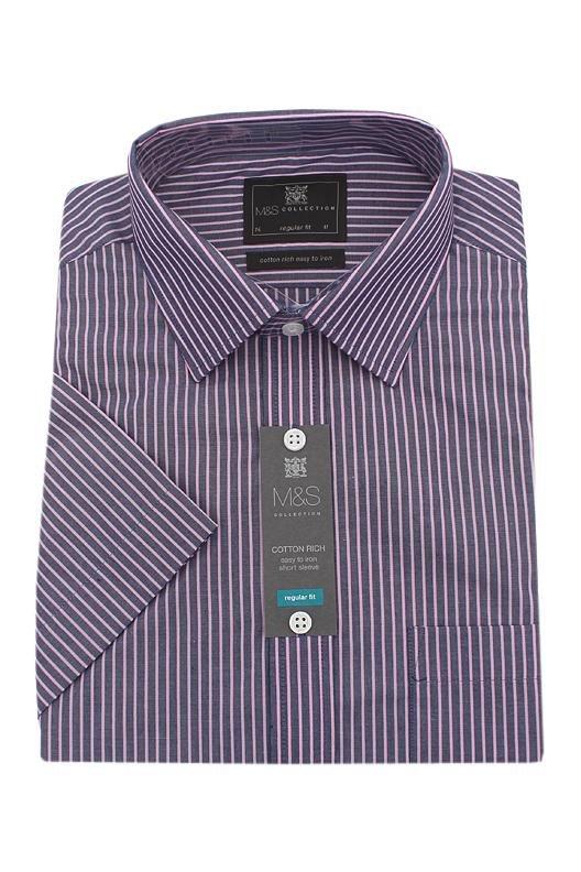 M&S Collection Blue Pink Striped Cotton Rich Regular Fit S/Sleeve Men Shirt