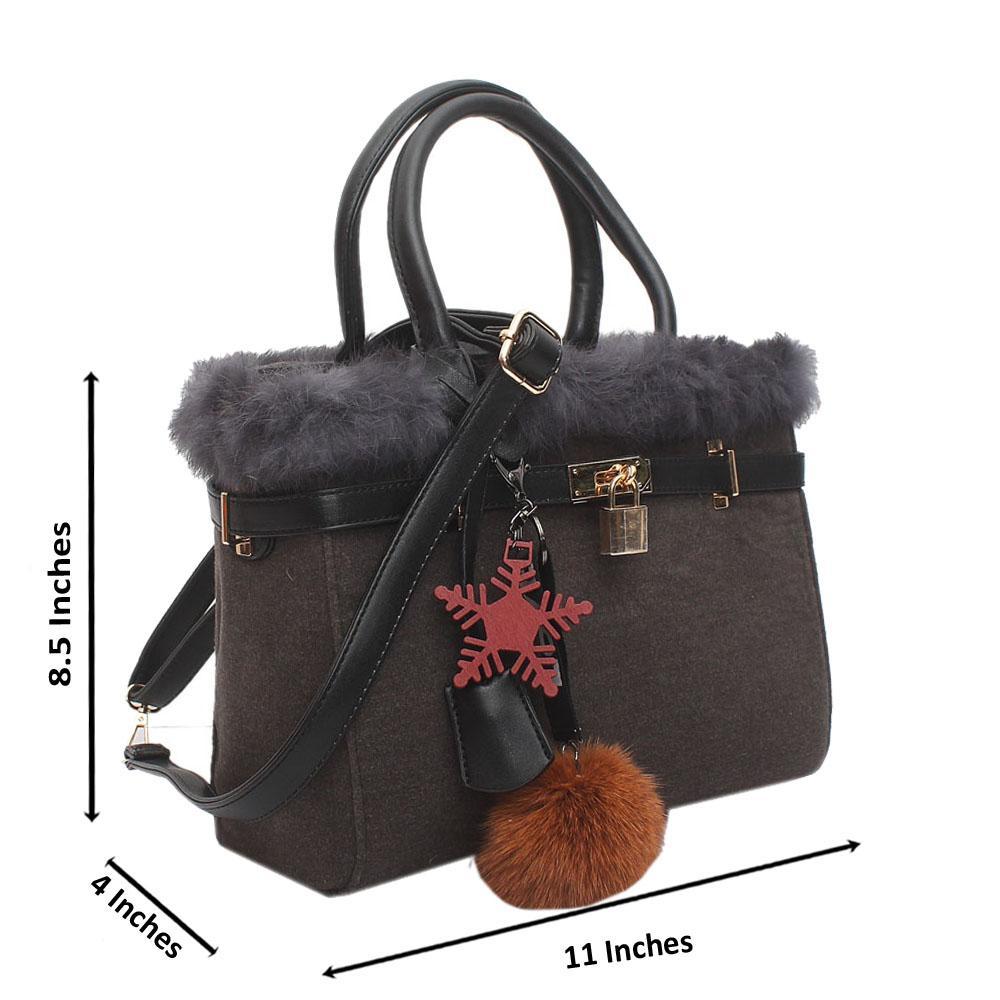 Gray Furry Medium Handbag