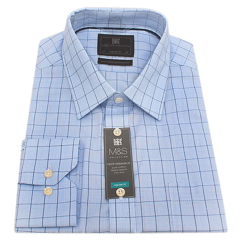 M & S Collection Blue Check Regular Fit L/Sleeve Men Shirt-Sz 14.5