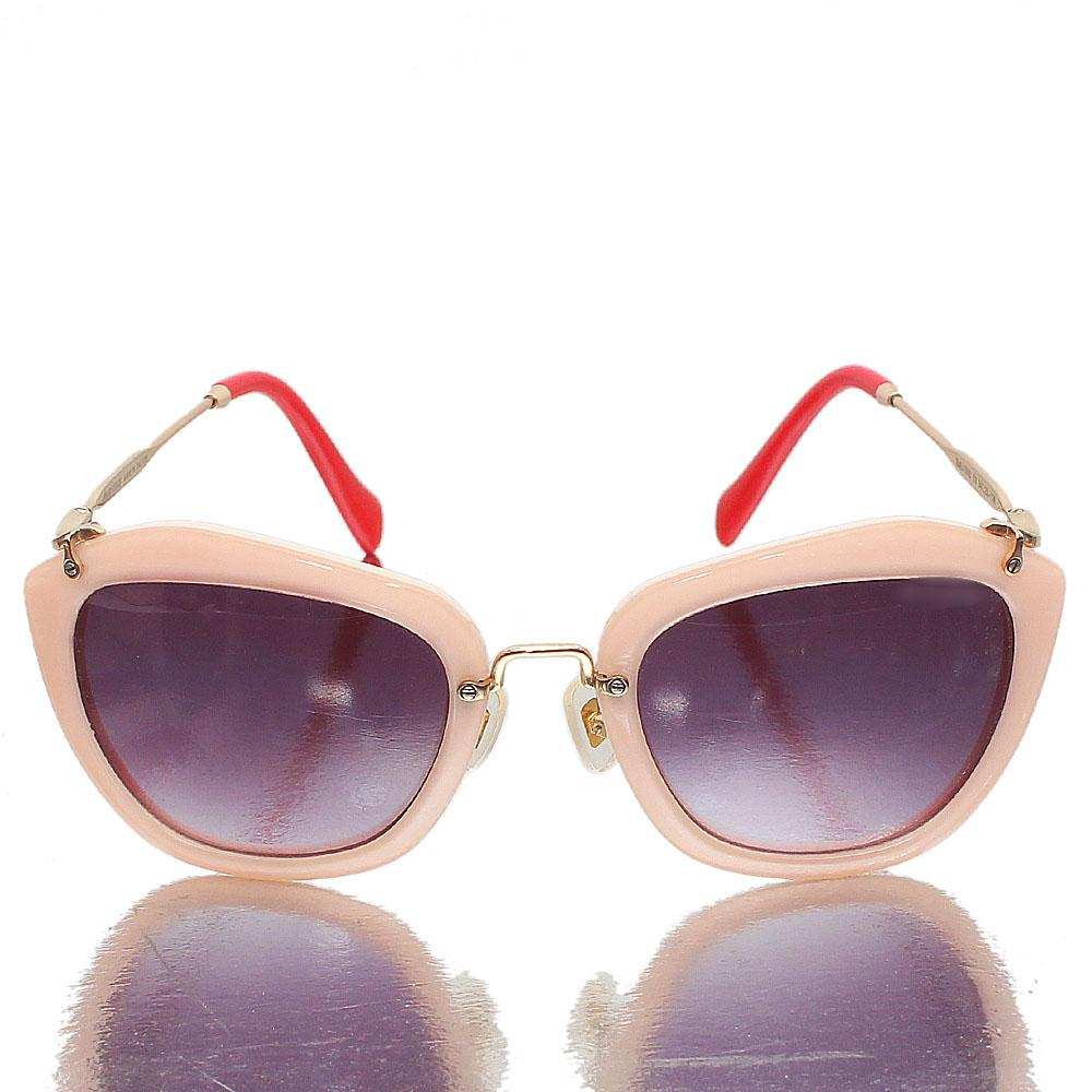 Gold Red Pink Oblong Dark Lens Sunglasses