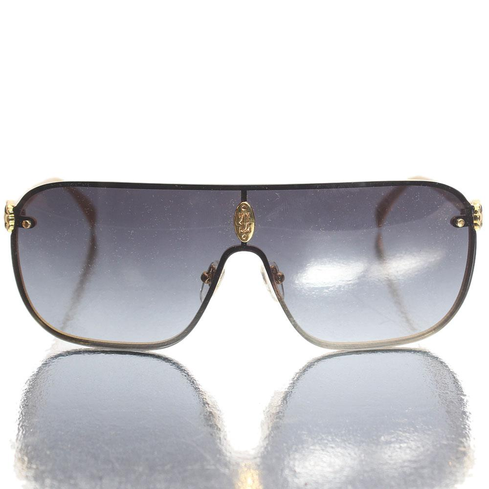 Gold Dark Shield Lens Sunglasses