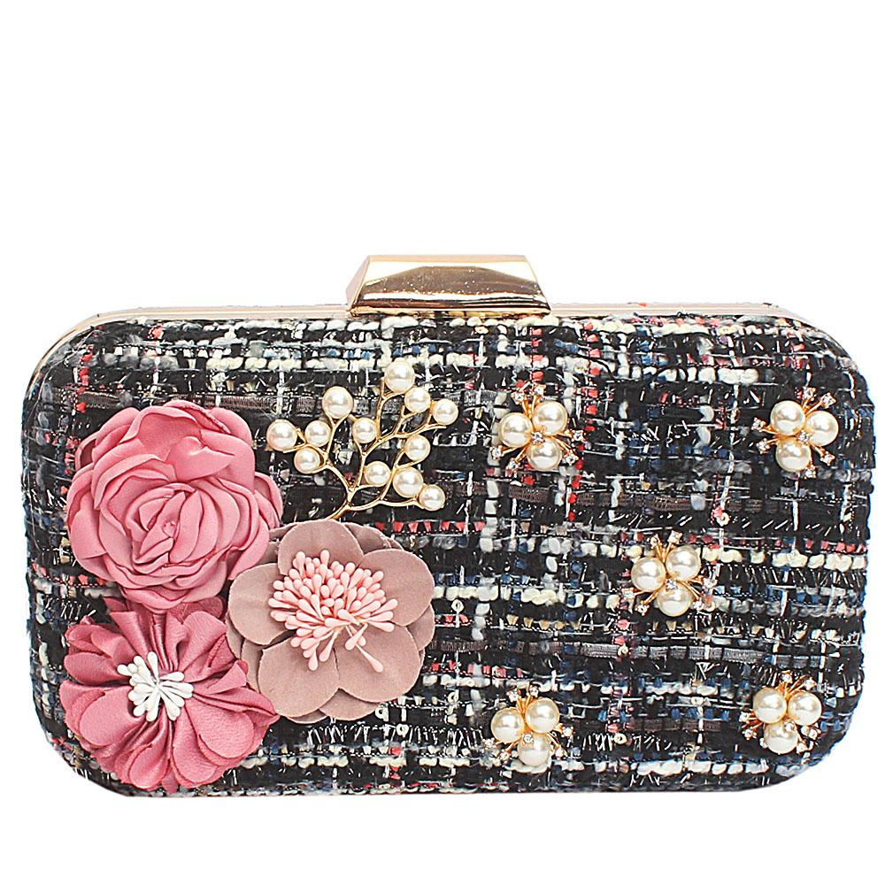 Black Mix Fabric Woven Hard Clutch