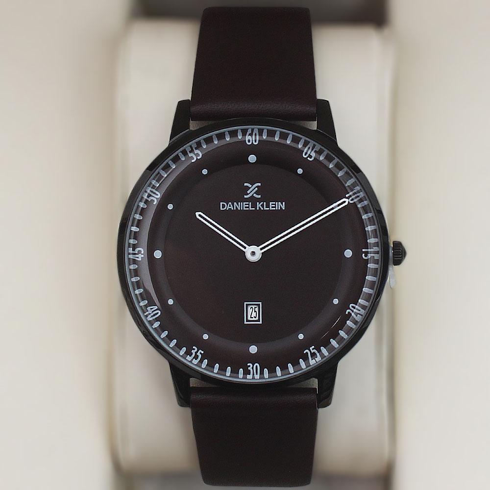Daniel Klein Ace Date Watch wt Coffee Leather Strap