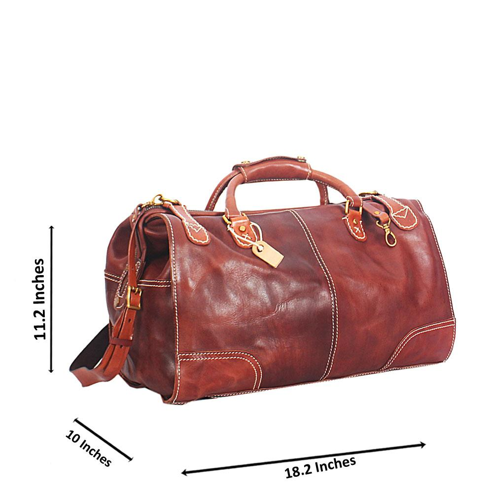Brown Italian Leather Duffel Bag