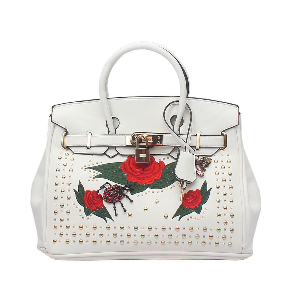 White Studded Leather Medium Tote Bag
