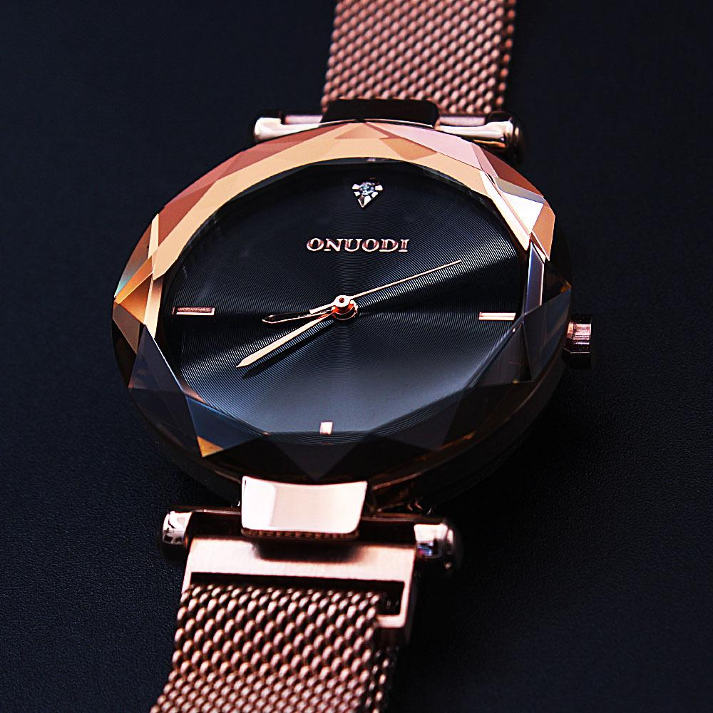Diane Black Face Rose Gold Mesh Ladies Watch