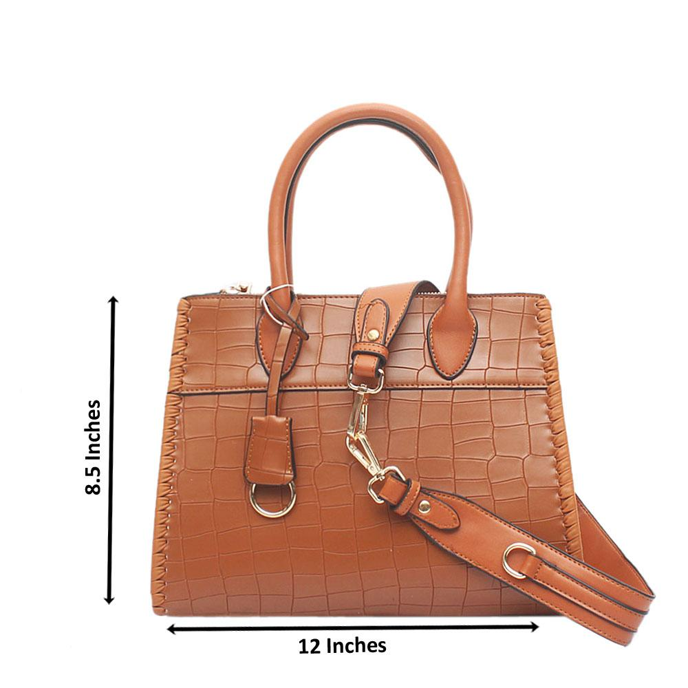 London Style Brown Croc Leather Tote Bag