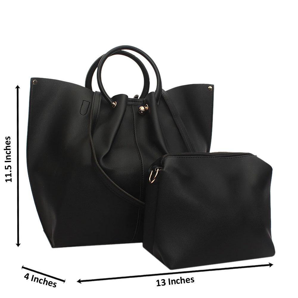 Black Paulina Leather Metal Handle Tote Handbag