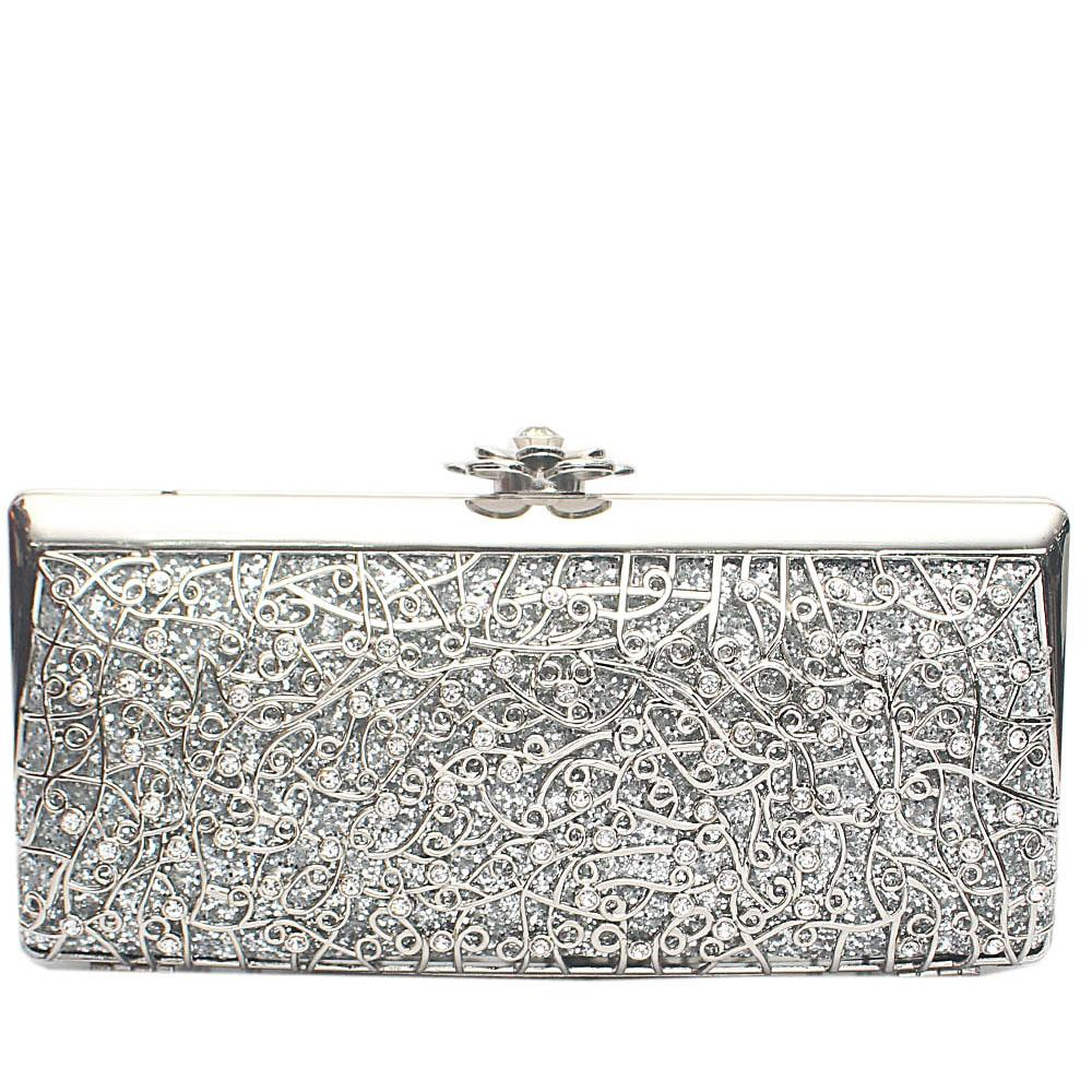 Silver Wire Stud Hard Clutch Purse