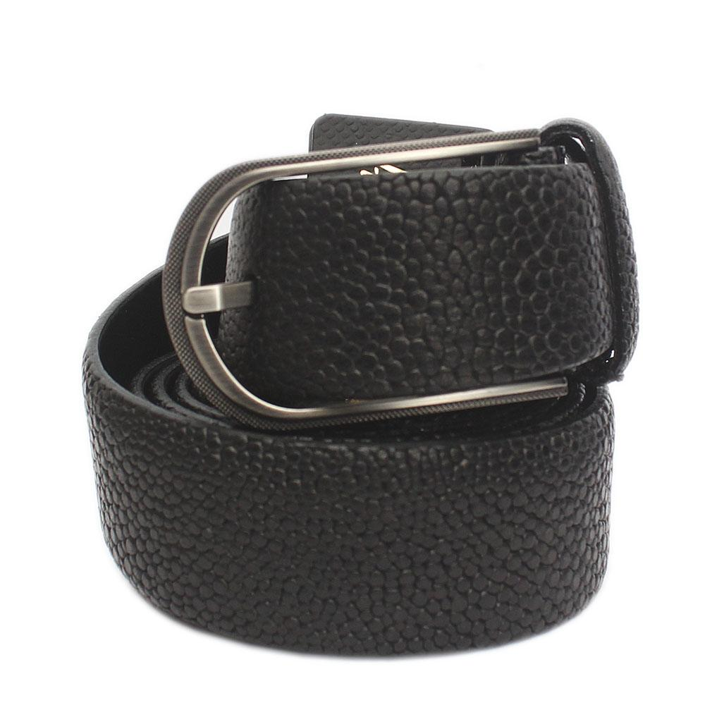 Black Classic Embossed Italian Leather Flat Belt L 50 Inches