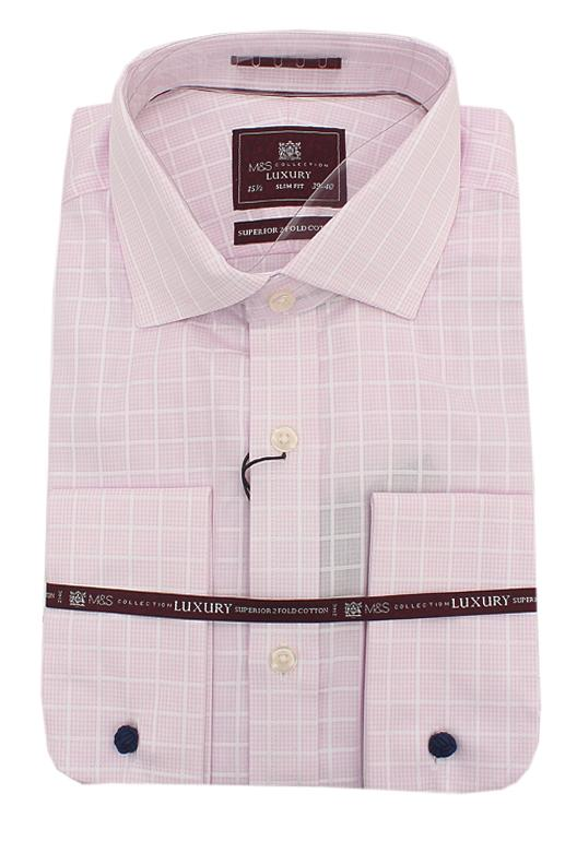 M&S Luxury Pink White Check 2 Fold Cotton Slim Fit L/Sleeve Men Shirt Wt Cu