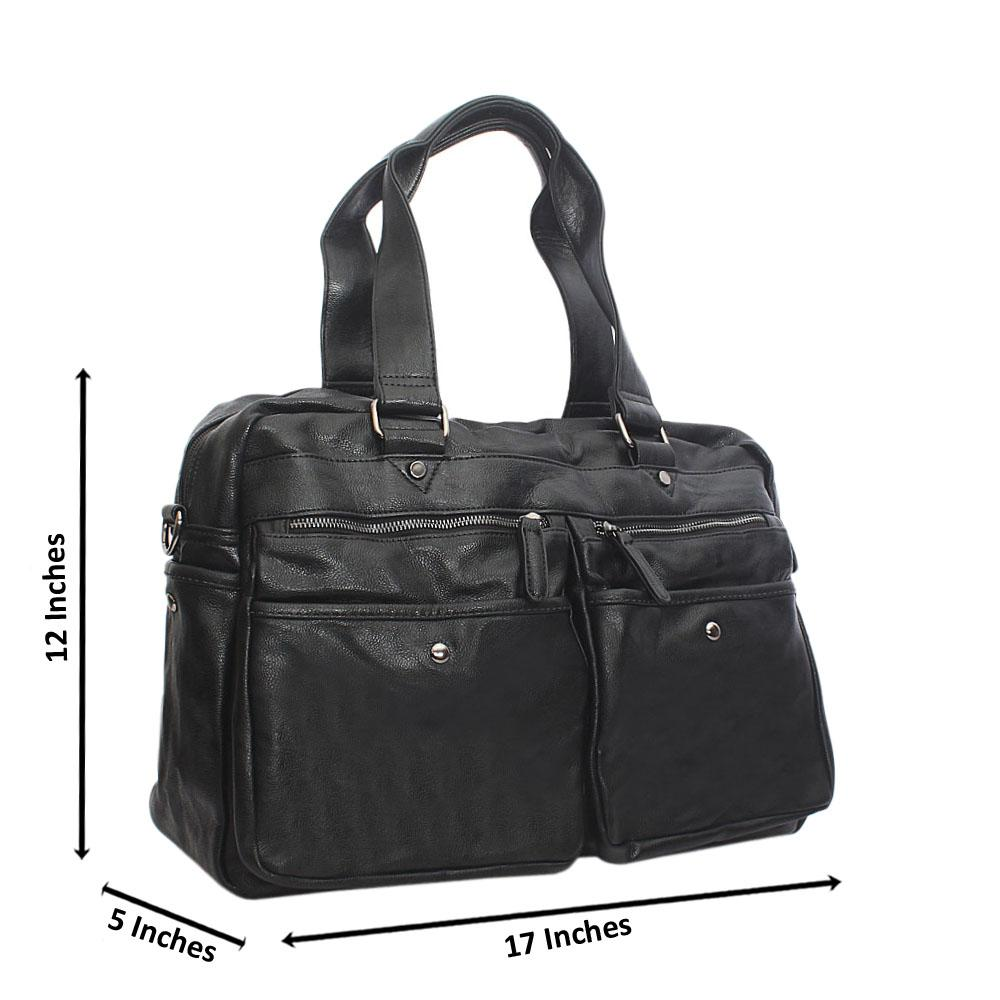 Miles Black Double Pocket Cassania Leather Man Bag