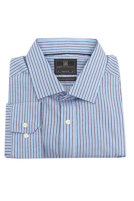 M & S Collection Blue Navy  L/Sleeve Men Shirt