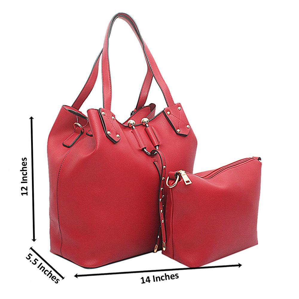 Red Leather Handbag Wt Purse