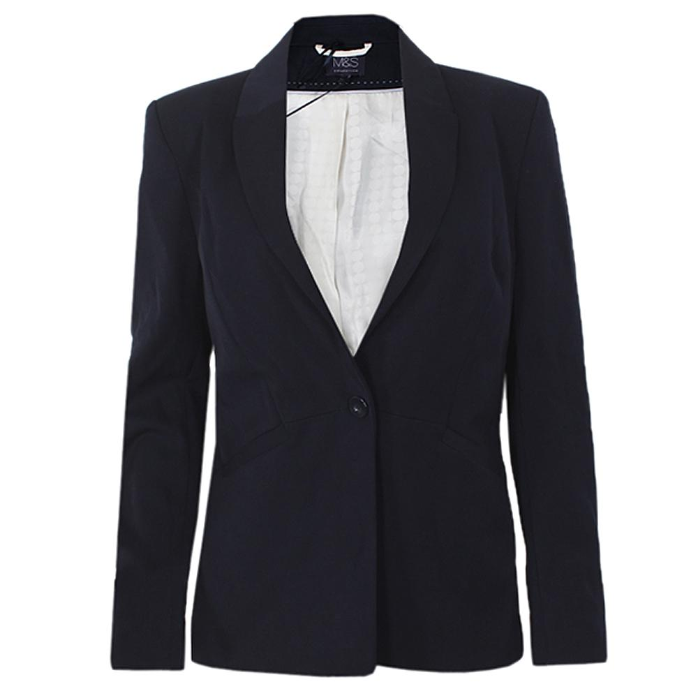 M&S Collection Navy Blue Ladies Suit Jacket-Uk 14