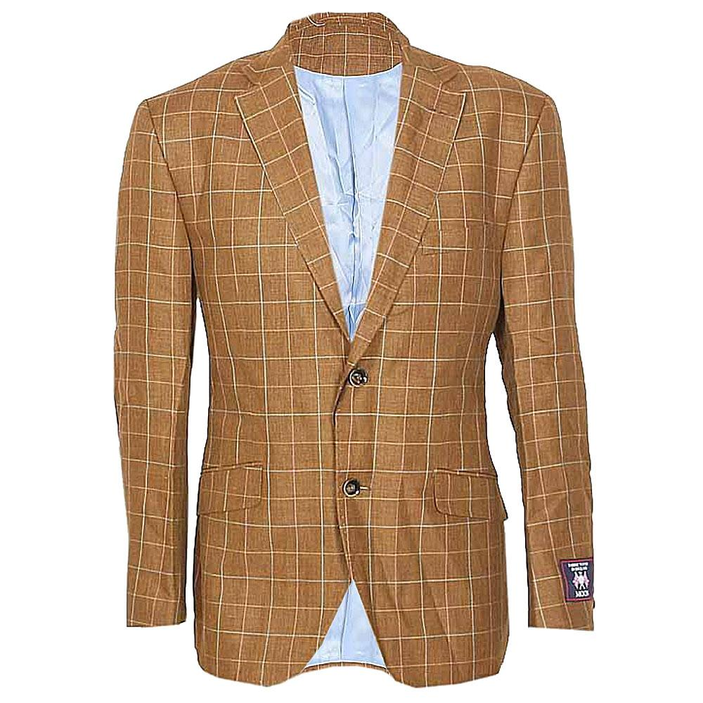 Marks & Spencer Coffee Brown Check Cotton Men Suit Jacket-42
