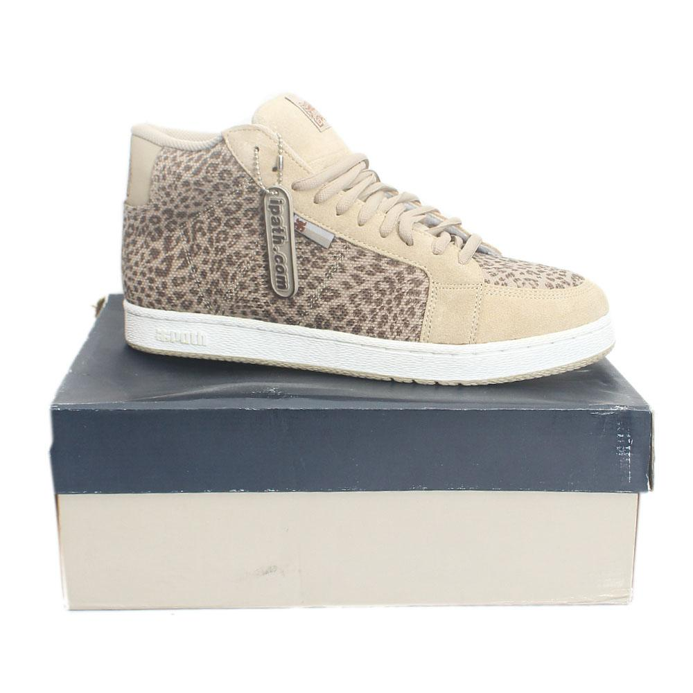 Path Khaki Leopard Fabric Leather Men Ankle Sneakers