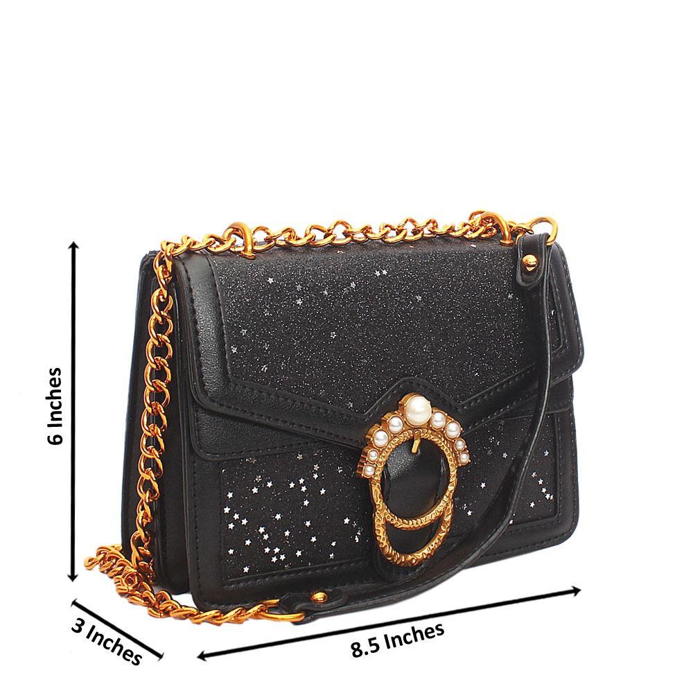 Black Melrose Glitz Leather Crossbody Bag