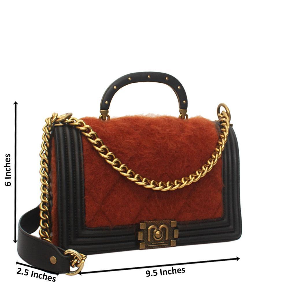 Brown Black Furry Leather Small Handle Crossbody Handbag