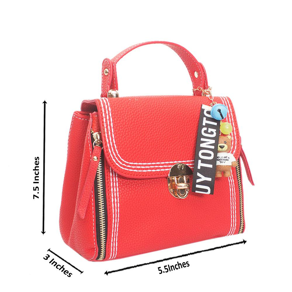 Red Leather Tongtouy Charm Mini Handbag
