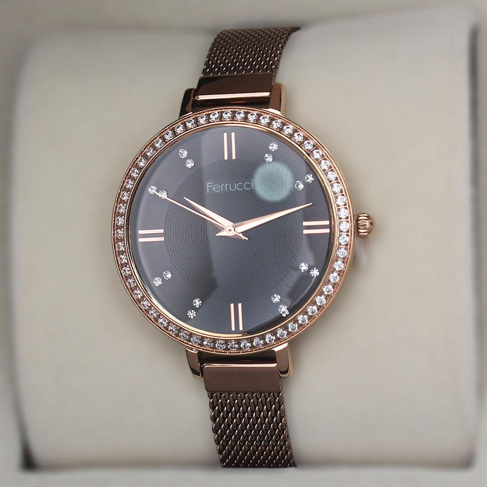 Ferruci Studded Bronze Mesh Ladies Watch