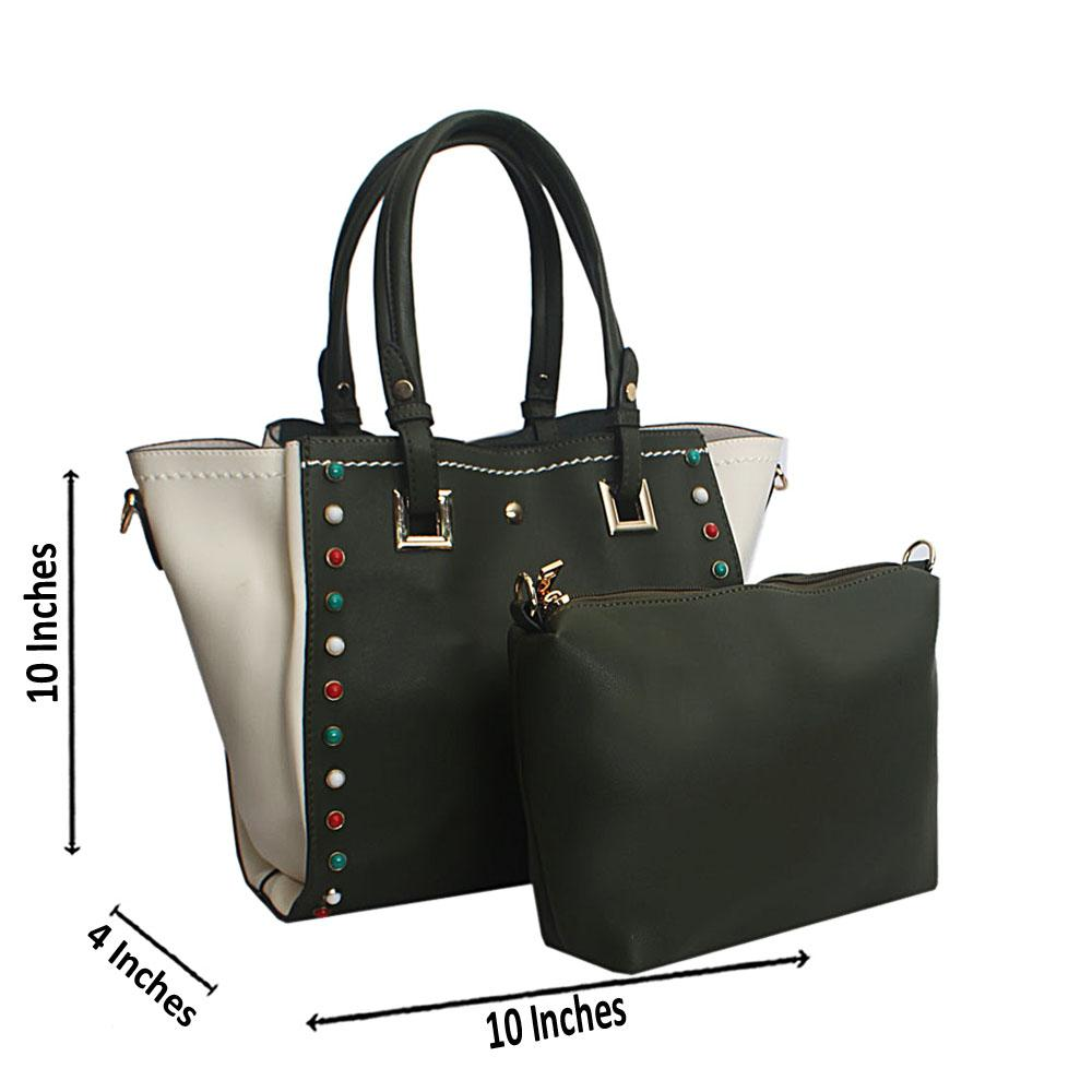 Green White Studded Leather Tote Handbag
