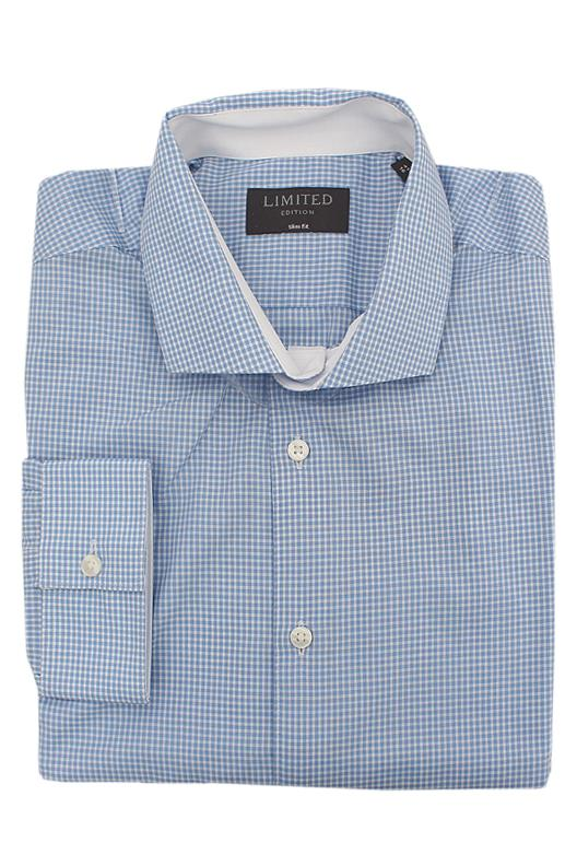M&S Limited Blue White Check Slim Fit L/Sleeve Men Shirt