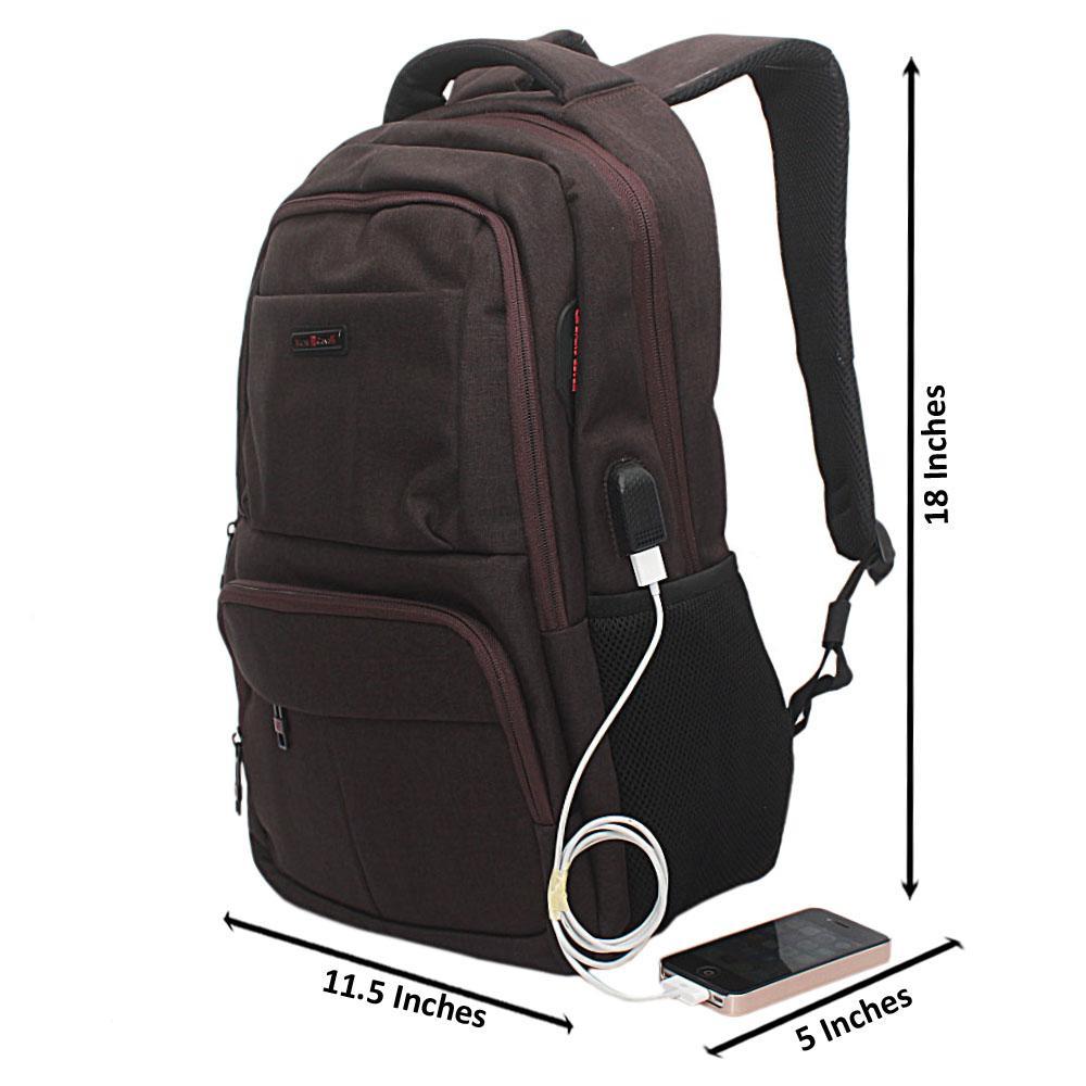 Coffee Multi Zip Bruno Cavali Backpack wt USB Connector