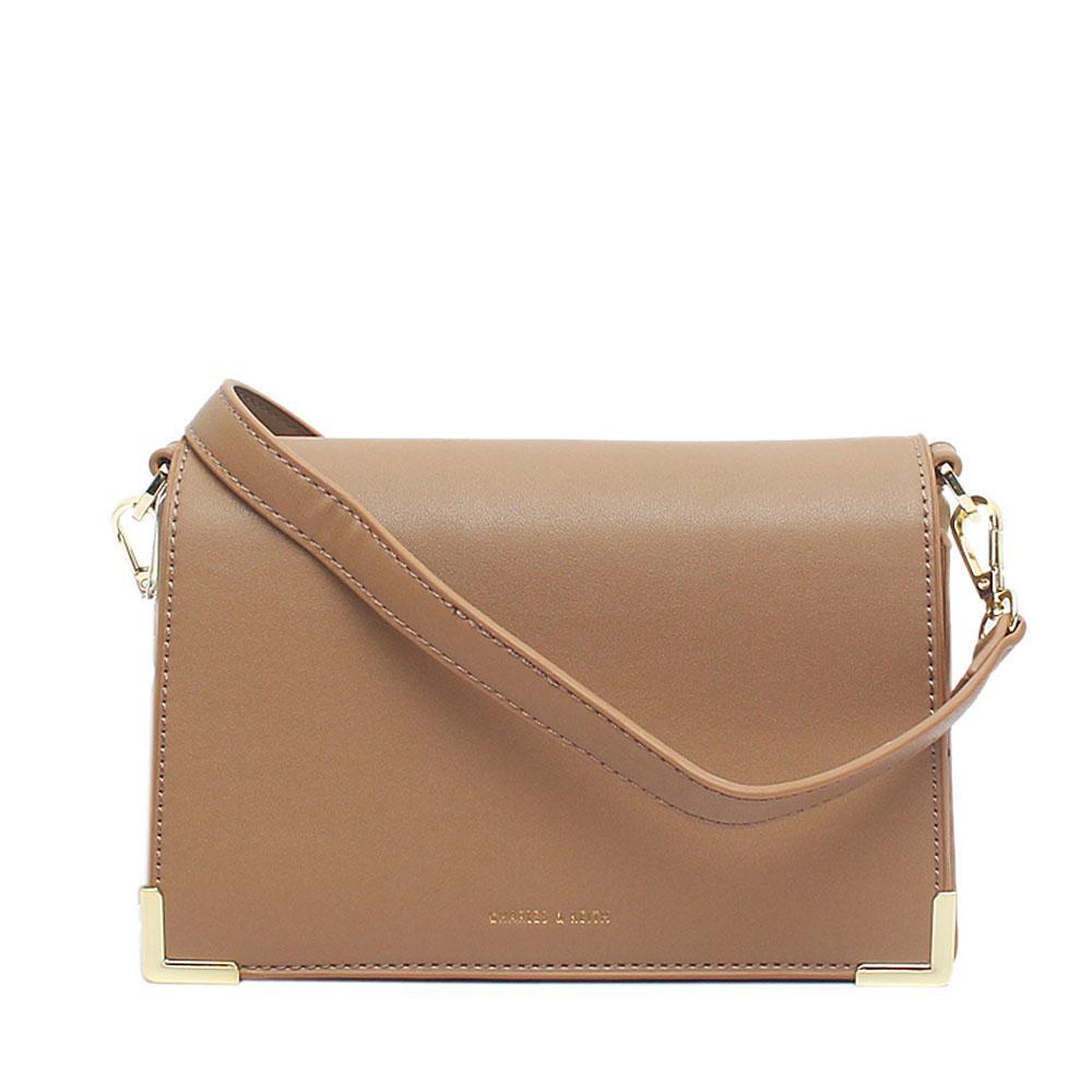 Charles Keith Khaki Brown Leather Small Cross Body Bag