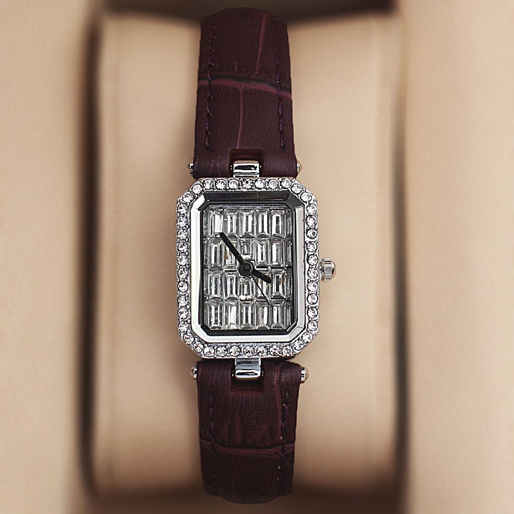 Purple Studded Face Leather Ladies Watch