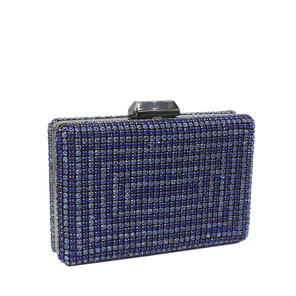Royal Blue Nina Crystals Studded Clutch Purse