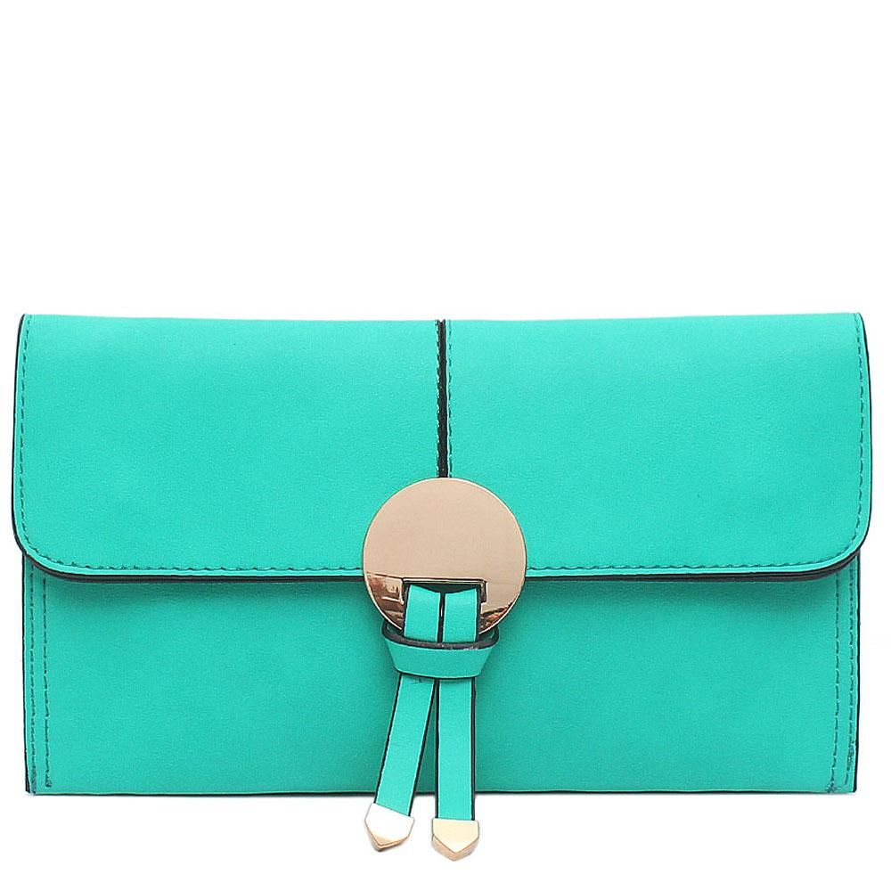 T.Green Leather Flat Clutch