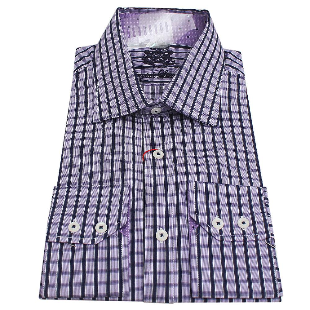 Arrogant Shop buy elegant-arrogant-purple-check-lsleeve-men-shirt-sz-165 - the bag