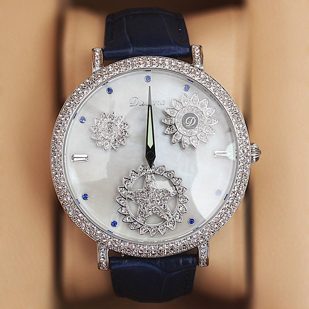 Davena Rose Leather Crystal Studded Ladies Luxury Watch
