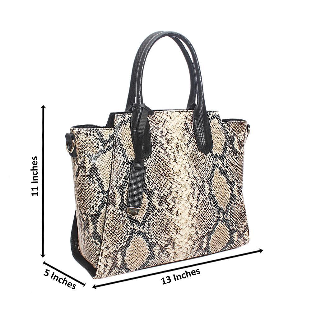 Ariana Cream Black Snake Montana Leather Handbag