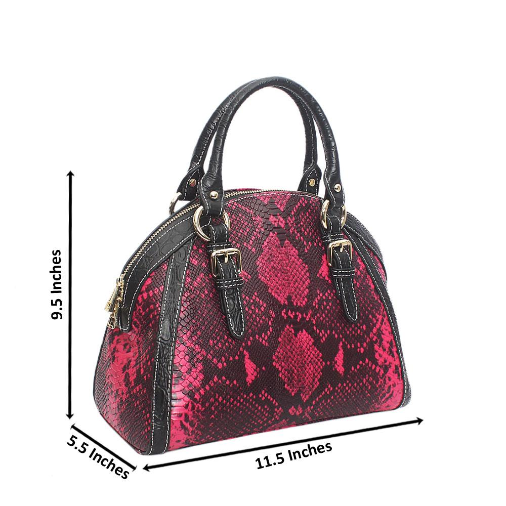 Buttercup Pink Black Snake Montana Leather Handbag