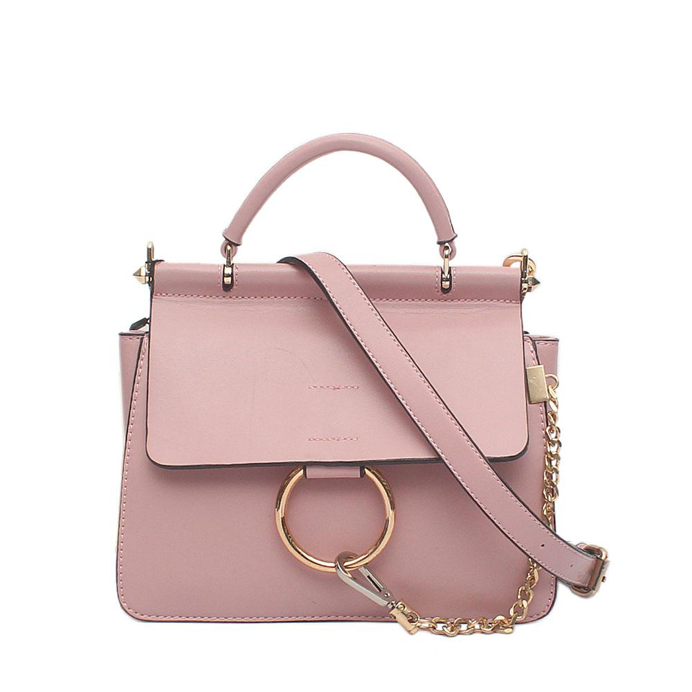 Manor Rose Pink Leather Small Handle Bag