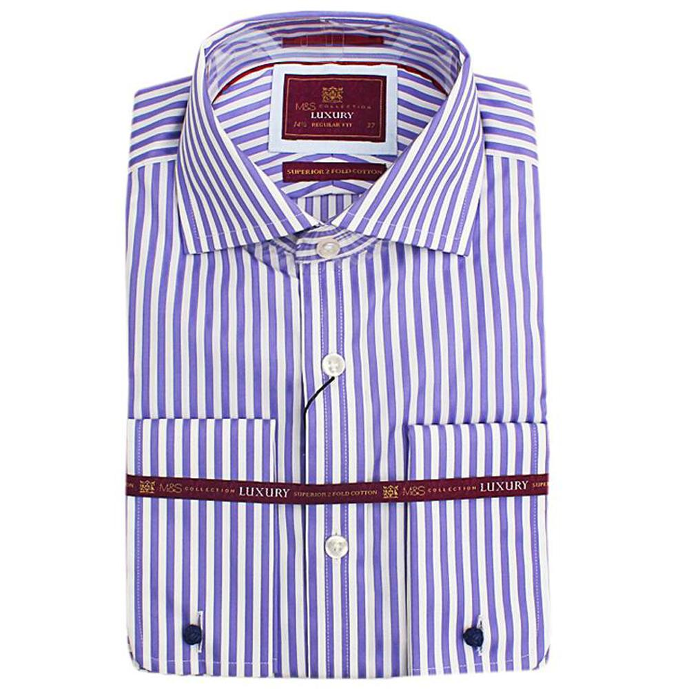 Marks & Spencer Purple Stripe L/Sleeve Mens Shirt