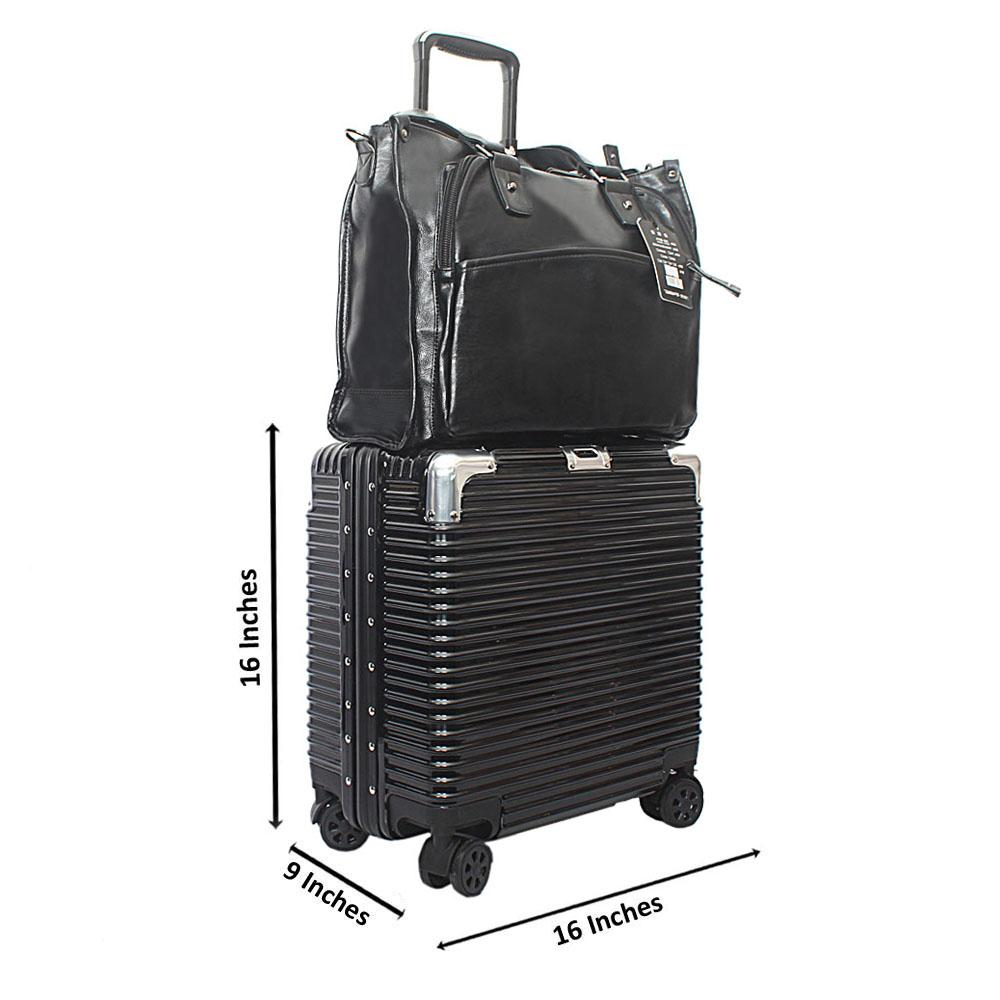 Black 16 Inch Hardshell Carry On Pilot Suitcase Wt Business Bag