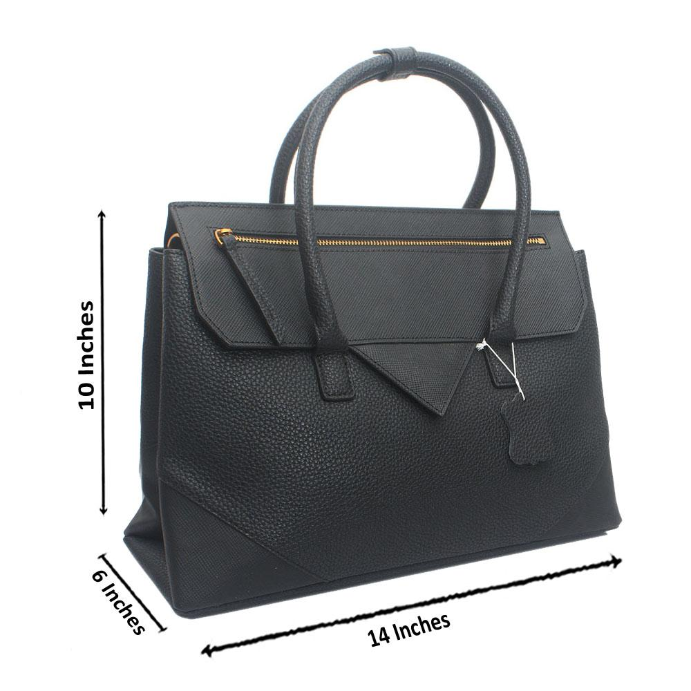 Black Primora Envelope Saffiano Leather Handbag
