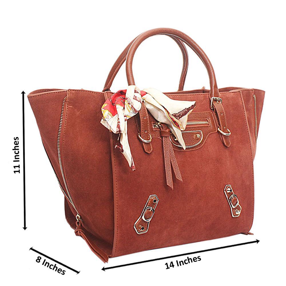 Brown Suede Saffiano Leather Handbag