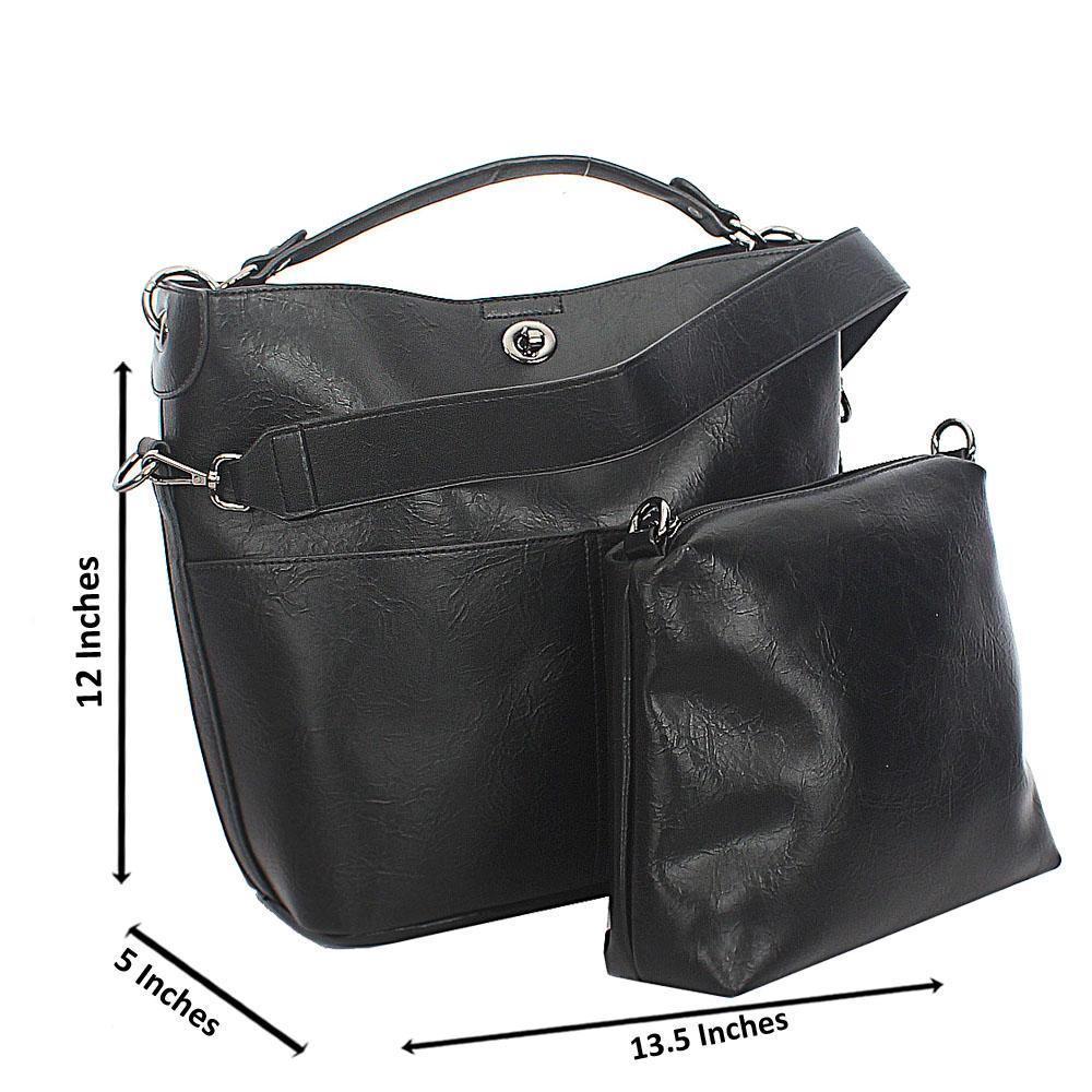 Black Twin Pocket Tuscany Leather Top Handle Handbag