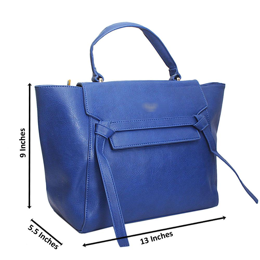 Blue Leather Medium Belt Top Handle Handbag