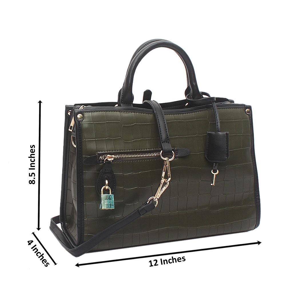 Green Medium Popincourt Croc Zen-Leather Bag