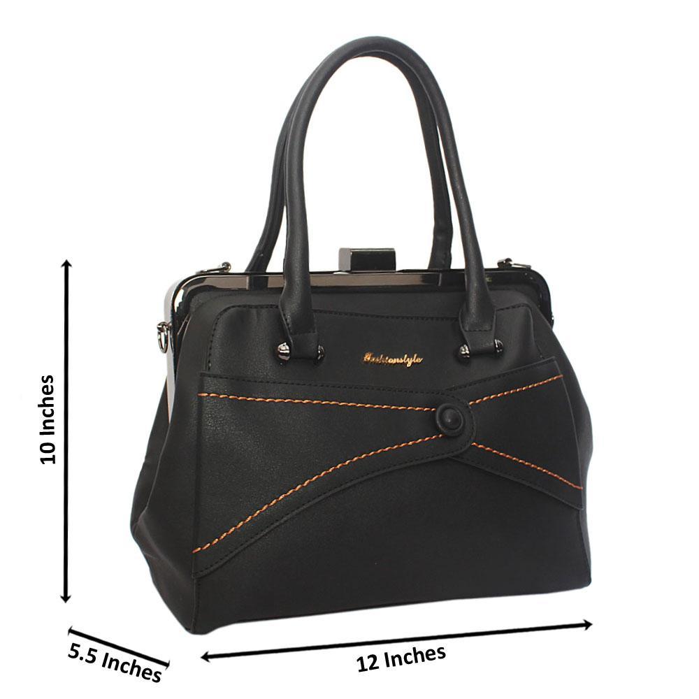 Black Ellie Leather Tote Handbag