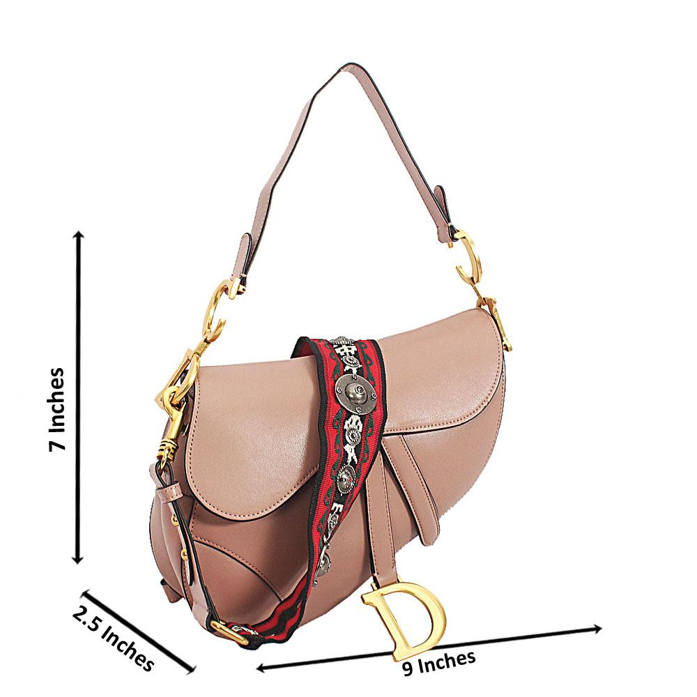 Beige Cowhide Leather Saddle Crossbody Handbag